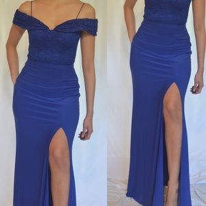 Sexy blue party prom dress